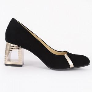 Pantofi cu toc din piele naturală Cod 1215 Negri