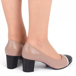 Pantofi cu toc din piele naturală Cod 1223 Coffee - Pantofi cu toc din piele naturală moale cu imprimeu discret de piele de șarpe  Foarte comozi, acești pantofi vă conferă lejeritate și eleganță - Deppo.ro