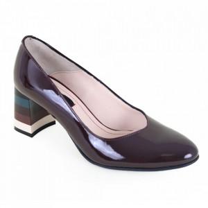 Pantofi cu toc din piele naturală cod 203 L.Bordo