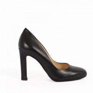 Pantofi cu toc din piele naturală cod 4117 Black
