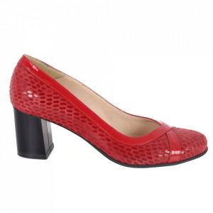 Pantofi cu toc din piele naturală cod 751 Red