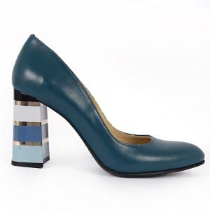 Pantofi cu toc din piele naturală Cod S21 Turcoaz