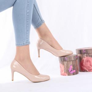 Pantofi Cu Toc Emery Nude - Pantofi cu toc din piele ecologică cu un design unic. Fii în pas cu moda şi străluceşte la următoarea petrecere. - Deppo.ro