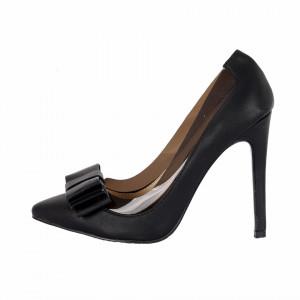 Pantofi Cu Toc Kloris Black - Pantofi cu vârf ascuțit din piele ecologică întoarsă, foarte confortabili cu un calapod comod - Deppo.ro