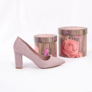 Pantofi Cu Toc Lea Purple - Pantofi cu toc gros și vârf ascuțit din piele ecologică întoarsă, foarte confortabili potriviți pentru birou sau evenimente speciale. - Deppo.ro