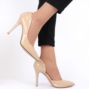 Pantofi cu toc pentru dame cod AF9480 Beige
