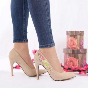 Pantofi Cu Toc Taniyah Beige