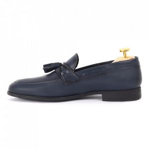 Pantofi din piele naturală albaştri cod 3281 - Pantofi pentru bărbaţi din piele naturală, model simplu, finisaje îngrijite cu un design deosebit - Deppo.ro