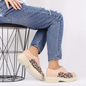 Pantofi din piele naturală bej Cod 482 - Pantofi damă din piele naturală, foarte confortabili cu un tălpic special care conferă lejeritate chiar și în cazurile în care petreci mult timp stând în picioare. - Deppo.ro