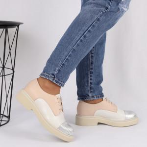 Pantofi din piele naturală bej cu alb Cod 482 - Pantofi damă din piele naturală, foarte confortabili cu un tălpic special care conferă lejeritate chiar și în cazurile în care petreci mult timp stând în picioare. - Deppo.ro