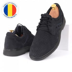 Pantofi din piele naturală bleumarin închis cod 3288