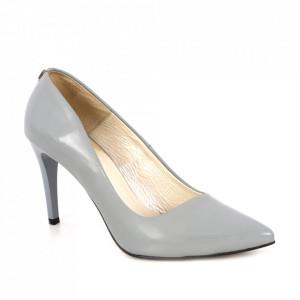 Pantofi din piele naturală cod 0760/A Grey