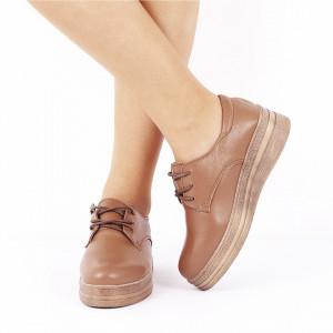 Pantofi din piele naturală cod 1012 Bej - Pantofi  pentru dame din piele naturală cu talpă flexibilă - Deppo.ro