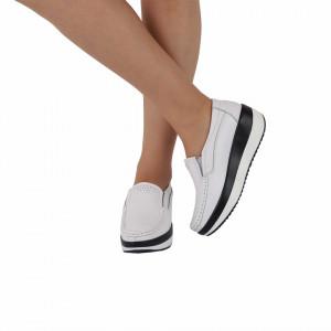 Pantofi din piele naturală cod 1156 Albi - Pantofi pentru dame din piele naturală cu talpă ortopedică flexibilă - Deppo.ro