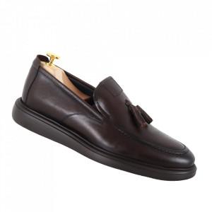 Pantofi din piele naturală cod 1398 Kahve
