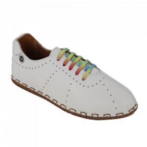 Pantofi din piele naturală cod 2000 White
