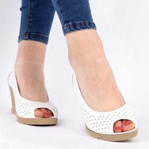 Pantofi din piele naturală cod 55672 White