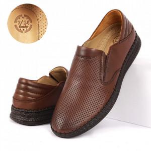 Pantofi din piele naturală cod 85039 Maro