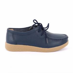 Pantofi din piele naturală Cod 8517 Navy - Pantofi albaștrii pentru dame din piele naturală cu talpă flexibilă - Deppo.ro