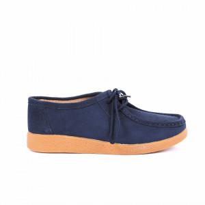Pantofi din piele naturală cod 85171 Navy - Pantofi pentru dame din piele naturală cu talpă flexibilă - Deppo.ro