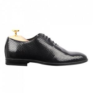 Pantofi din piele naturală cod 911 Negru lac matritat