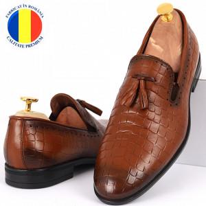 Pantofi din piele naturală cod 940 Maro deschis