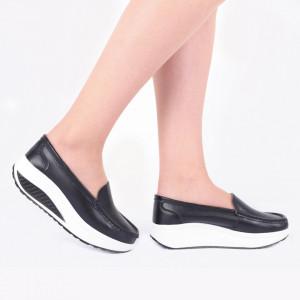 Pantofi din piele naturală cod A339 Negri