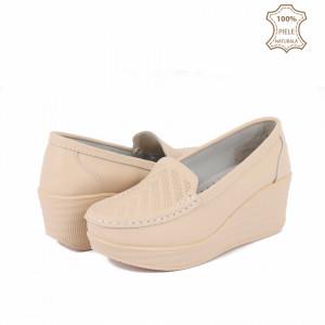 Pantofi din piele naturală cod H1789 Bej