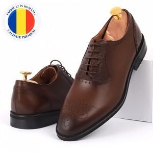 Pantofi din piele naturală maro cod 3231