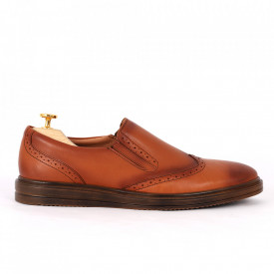 Pantofi din piele naturală maro deschis cod 92423 N-D - Pantofi din piele naturală, model simplu, finisaje îngrijite cu undesign deosebit - Deppo.ro
