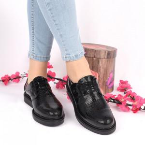 Pantofi din piele naturală negri Cod 24905