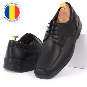 Pantofi din piele naturală negri cod 3242