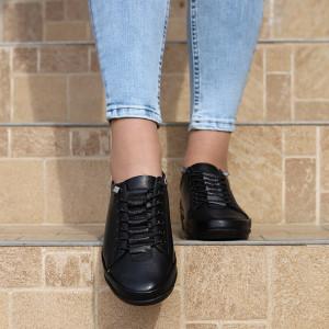 Pantofi din piele naturală Negri Cod 6634 - Pantofi pentru dame din piele naturală Închidere cu şiret Calapod comod - Deppo.ro