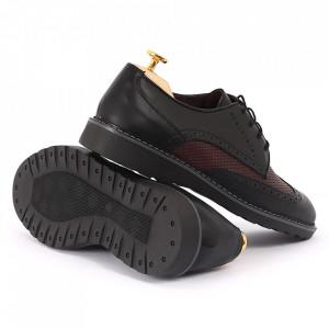 Pantofi din piele naturală negri cod 77127 - Pantofi pentru bărbaţi din piele naturală, model simplu, finisaje îngrijite cu undesign deosebit - Deppo.ro