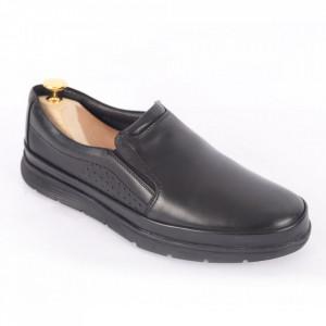 Pantofi din piele naturală pentru bărbați cod 175 Negru