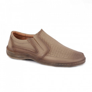 Pantofi din piele naturală pentru bărbați cod 200589 Bej