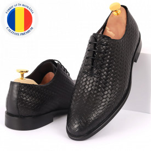Pantofi din piele naturală pentru bărbați cod 2012 Negri - Pantofi din piele naturală pentru bărbaţi, model simplu, finisaje îngrijite cu un design deosebit - Deppo.ro