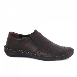 Pantofi din piele naturală pentru bărbați cod 203320 Maro