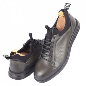 Pantofi din piele naturală pentru bărbați cod 325-1 Verde - Pantofi din piele naturală moale pentru bărbați Model simplu, finisaje îngrijite - Deppo.ro