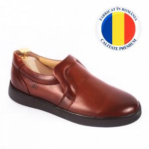 Pantofi din piele naturală pentru bărbați cod 336 Maro