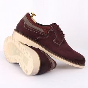 Pantofi din piele naturală pentru bărbați cod 350 Bordo - Pantofi din piele naturală, model simplu, finisaje îngrijite cu undesign deosebit - Deppo.ro