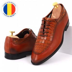 Pantofi din piele naturală pentru bărbați cod 912 Maro Deschis