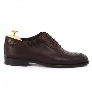 Pantofi din piele naturală pentru bărbați cod 912 Maro Închis - Pantofi din piele naturală, model simplu, finisaje îngrijite cu undesign deosebit - Deppo.ro