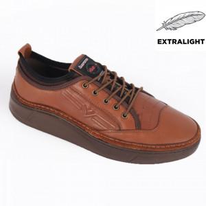 Pantofi din piele naturală pentru bărbați cod 9202 Taba