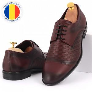 Pantofi din piele naturală pentru bărbați cod 9210 Bordo