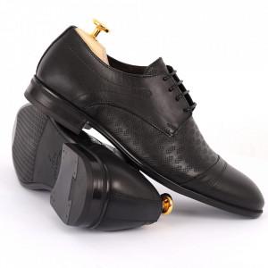 Pantofi din piele naturală pentru bărbați cod 9210 Negri - Pantofi din piele naturală moale pentru bărbați, model simplu, finisaje îngrijite - Deppo.ro