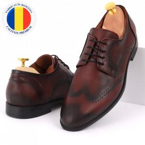Pantofi din piele naturală pentru bărbați cod 967 Bordo