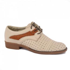 Pantofi din piele naturală pentru dame cod 13601 Bej