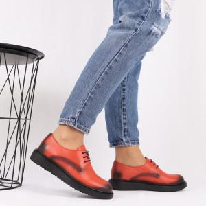 Pantofi din piele naturală portocalie Cod 483 - Pantofi damă din piele naturală, foarte confortabili cu un tălpic special care conferă lejeritate chiar și în cazurile în care petreci mult timp stând în picioare. - Deppo.ro