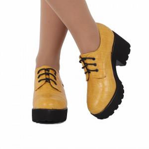 Pantofi pentru dame cod XH01 Galbeni - Pantofi pentru dame, din piele ecologica cu închidere prin șiret - Deppo.ro